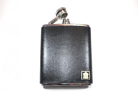Fiaschetta per liquore in cuoio nero