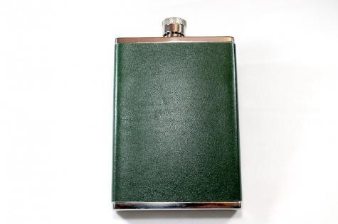 Fiaschetta per liquore in cuoio verde