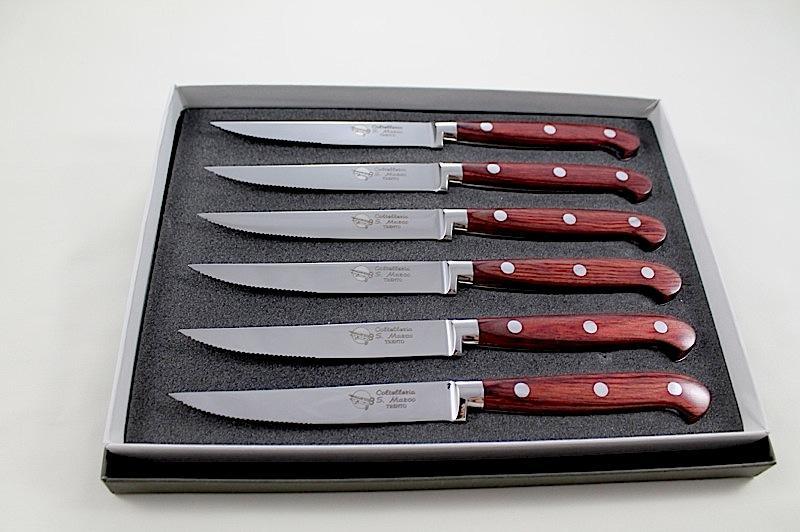 Set da 6 coltelli forgiati con manico in legno coltelli - Coltelli da tavola tramontina ...